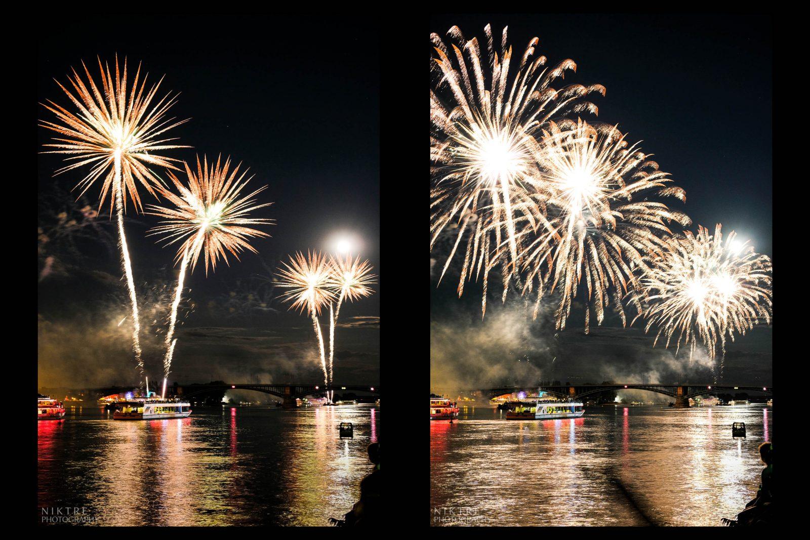 Das Feuerwerk am Rheinufer