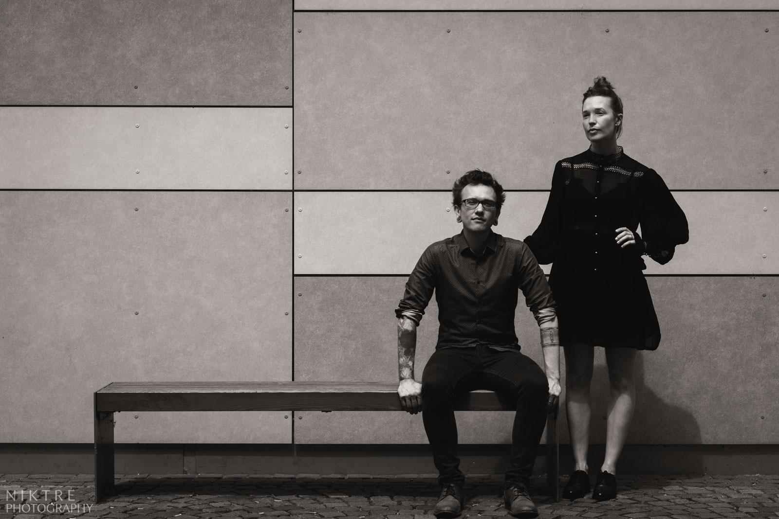 Schwarz-weisses Foto vom charismatischen Paar in Mainz