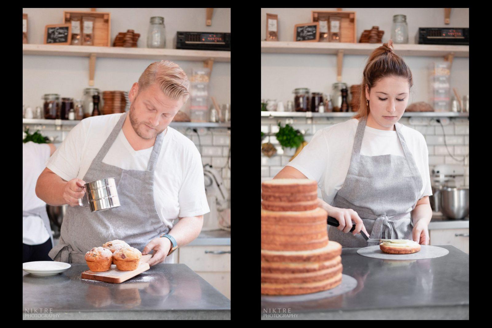 Es wird ein Hochzeitstorte in Mainz gemacht und Muffins dekoriert