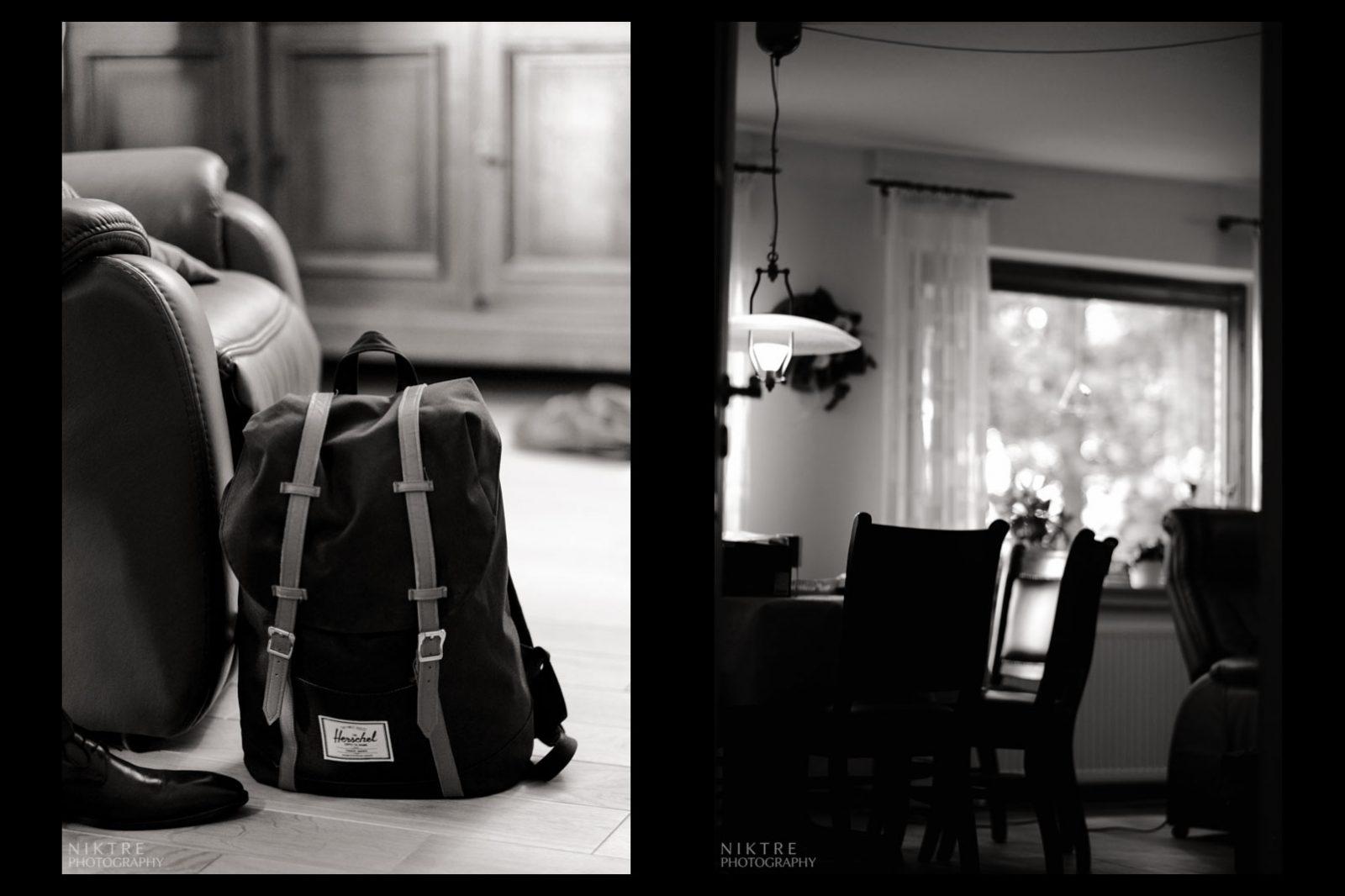 Junger Mann hat seine Sachen in den Rucksack gepackt und lässt sein Zimmer zurück