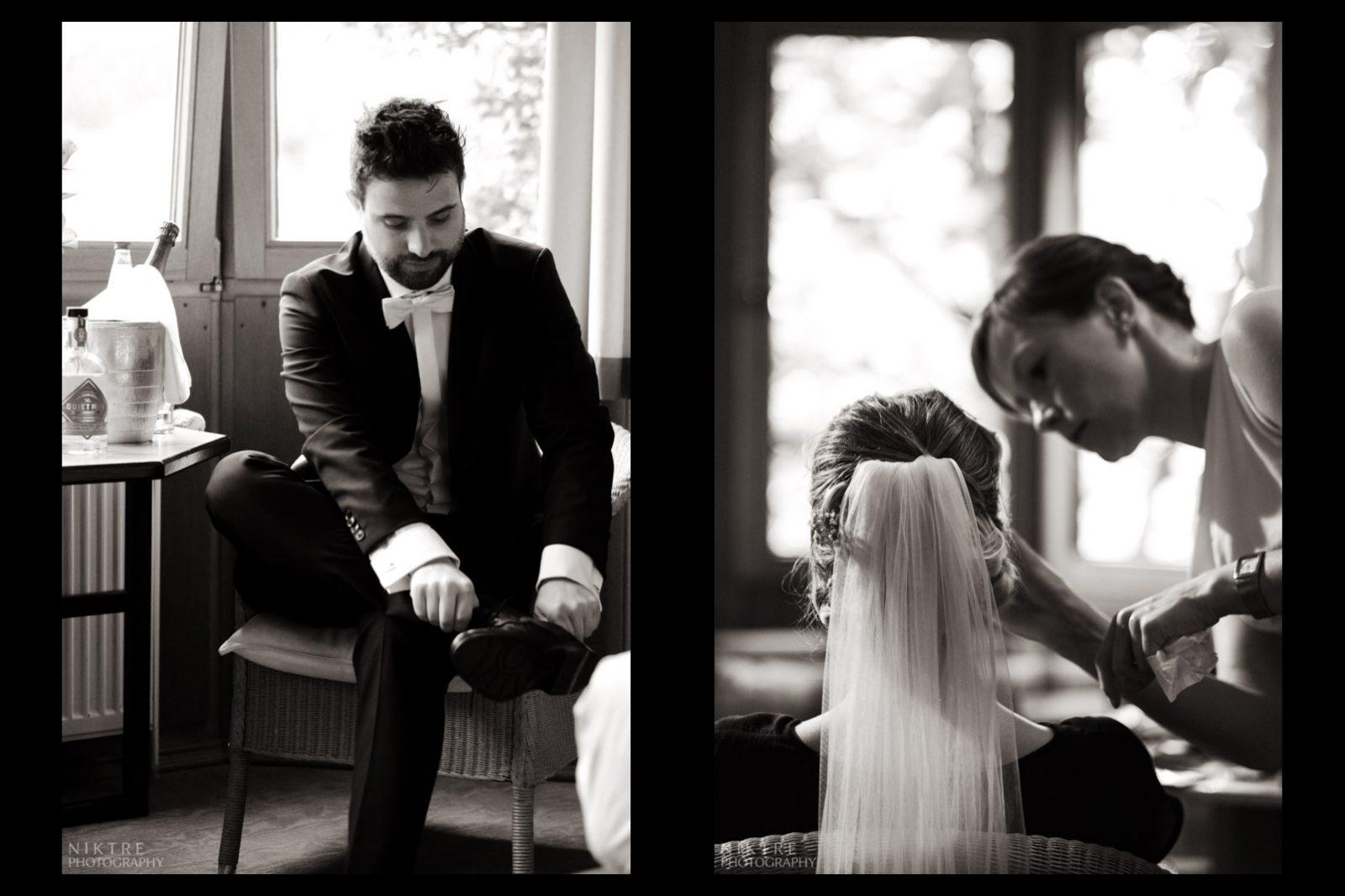 Bräutigam und Braut bereiten sich zur Zeremonie vor